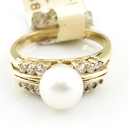 14k Yellow Gold Pearl Diamond Ring 3.8g, Sz.5.75 #1233