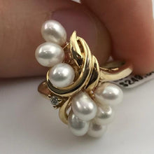 solid 14k yellow gold pearl freshwater cocktail ring