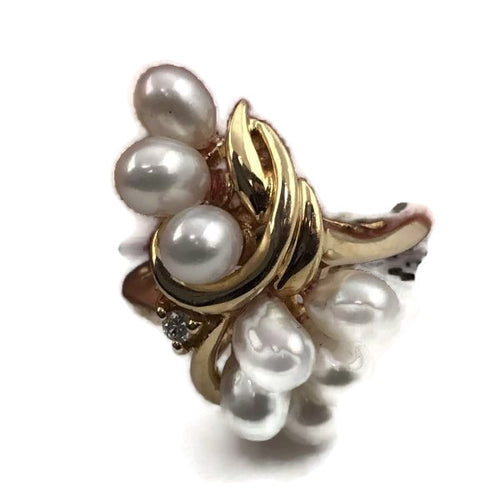 Ladies Estate 14K Yellow Gold Genuine Natural Freshwater Pearl Cocktail Ring w/Diamond Accent
