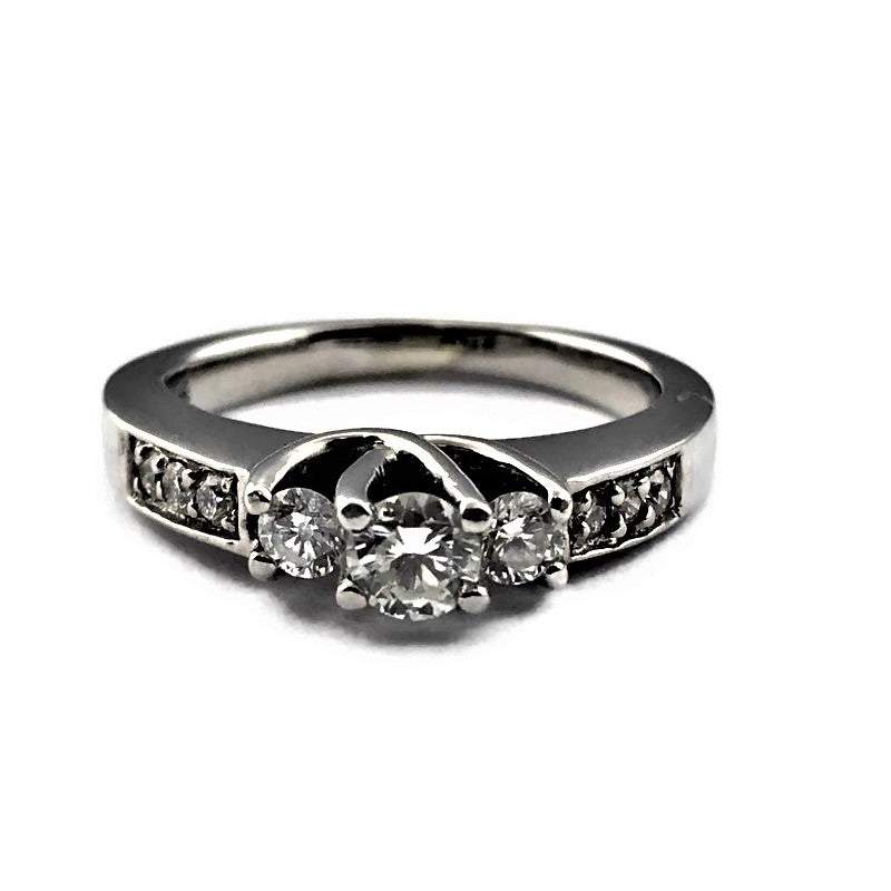 14K White Gold .54CT Diamond Engagement Ring, Pre-Owned item #292543