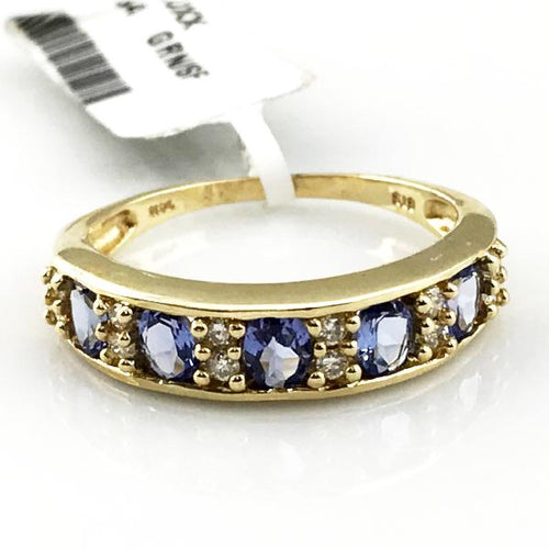 14K Yellow Gold Tanzanite and Diamond Band 3.2g, Sz. 8.25, Pre-owned item #311049c