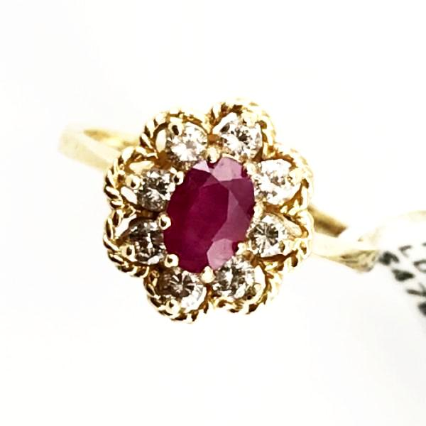 .64CT Ruby and .38CT Diamond Ring in 14kt Yellow Gold 2.9g, Sz.6.25 #200453N