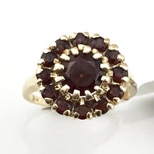 Vintage 14KY Gold Deep Red Garnet Flower Cluster Cocktail Ring, Pre-owned item #350145