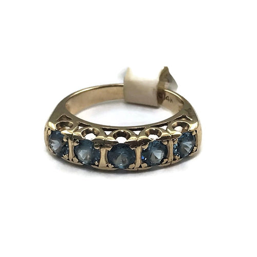 Vintage Ladies CRC Solid 14KY Gold Genuine Round Blue Topaz Engagement Ring, Pre-owned item
