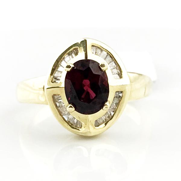 Rhodolite and Diamond Ring in 14k Yellow Gold 6.2g, Sz.8.5 #333672a