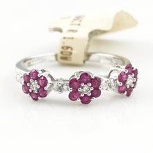 18K WHITE GOLD 0.66CT RUBY & 0.18CT DIAMOND FLOWER BAND 2.4g, Sz.7, New item #38417