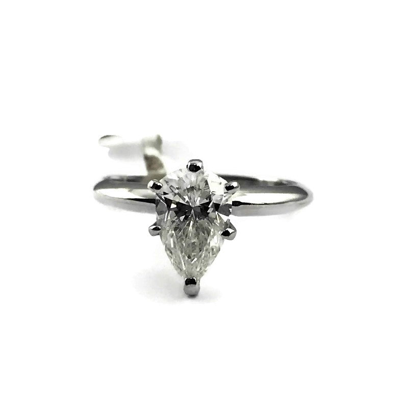1.12CT Pear Diamond Solitaire Engagement Ring in 14K White Gold