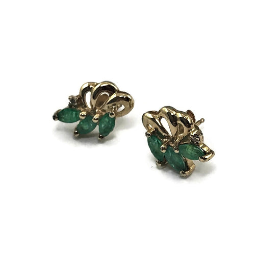 14KY Gold Marquise Natural Emerald 3 Stone Leaf, Flower Stud Earrings, Estate, Pre-owned item #348128f