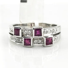 18K WHITE GOLD 0.50CT RUBY & 0.19CT DIAMOND RING 6.1g, Sz. 7, New item #R-901