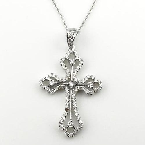 0.42CT Diamond Cross Pendant with Chain in 18K White Gold 3.1g, 25.5cm, New item #p1752a.sa.sc