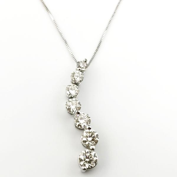 2CT Journey Diamond Pendant-Necklace in 14K White Gold 3.4g, 26cm New item  #pd2626-2