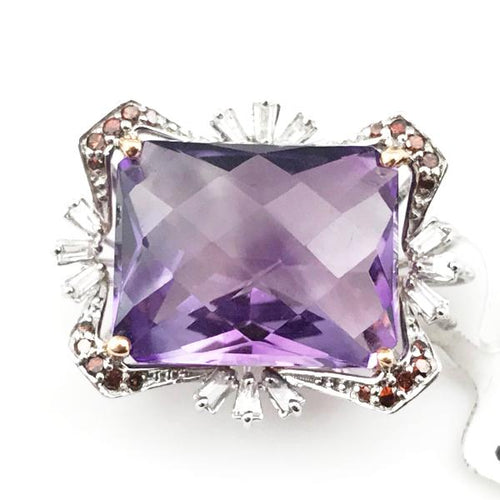 Amethyst and Diamond Pendant in 14K White Gold, New Item #22190052