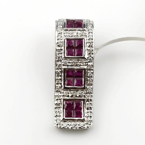 18k White Gold 1CT Ruby 0.19CT Diamond Pendant 4.4g New item #1H
