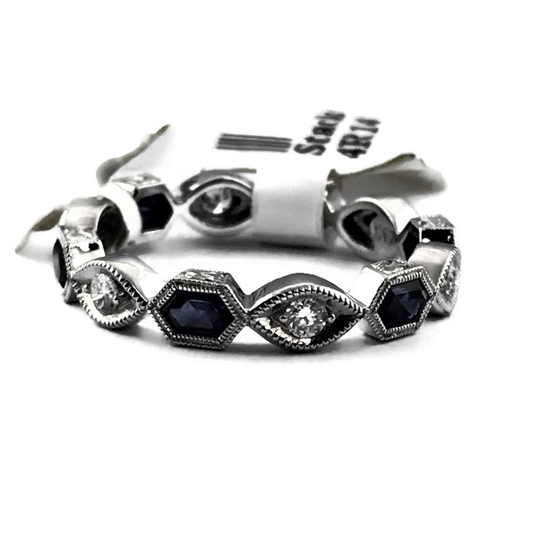 Jolie Designs Diamond and Custom Cut Hexagonal Blue Sapphire Stackable Designer Ring in 14KW, New item #4R14DS6