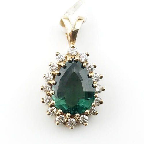 Green Tourmaline and Diamond Pendant in 14K Yellow Gold