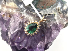 Green Tourmaline and Diamonds Pendant in 14K Yellow Gold, Pre-owned item, #291023D