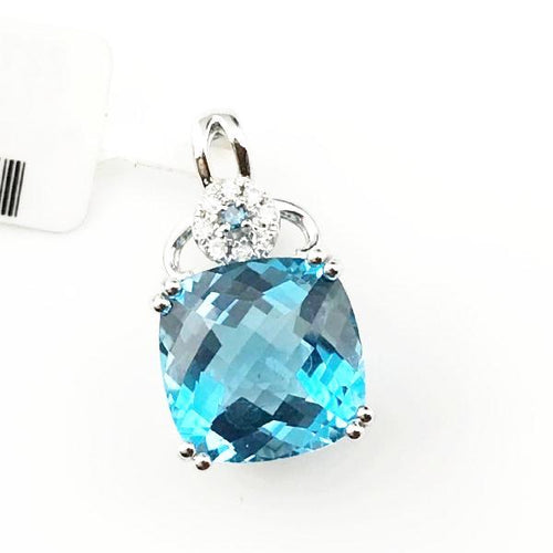 14K White Gold Blue Topaz Pendant, New item #22190185