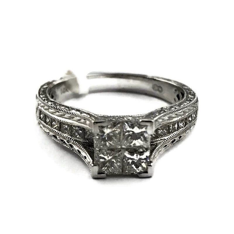 Princess Cut Engagement Ring in 14K White Gold