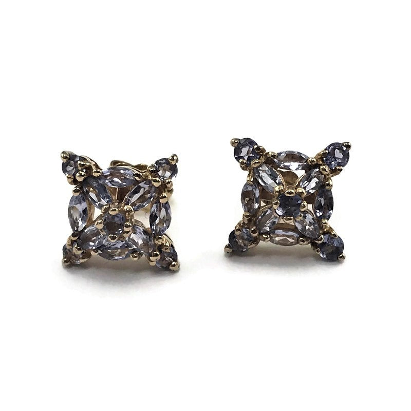 RGE 14K Yellow Gold Tanzanite Stud Earrings