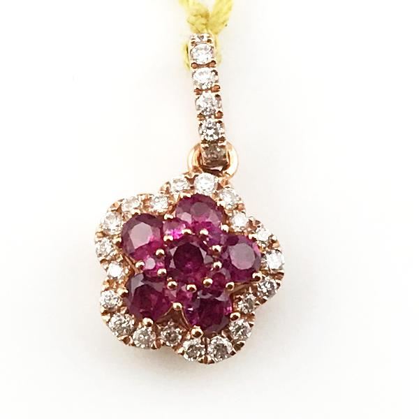 1/6CT Diamond 3/8CT Ruby Pendant in 14KR Gold 1.4g, New item #22223994