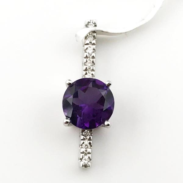 14k White Gold Diamond and Amethyst Pendant New item #NE-904