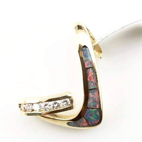 14K YELLOW GOLD .36CT DIAMOND OPAL PENDANT SLIDE 8.3G #274298A