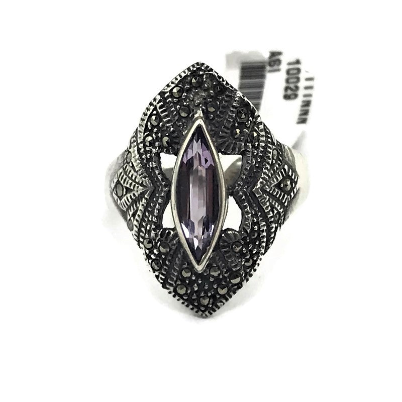 Ladies Amethyst Ring in 925 Sterling Silver