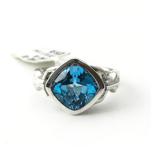 Colore Sg Sterling Silver Blue Topaz Fleur De Lis Post Ring 6.4g, Sz.7 New item #LVR462-BT