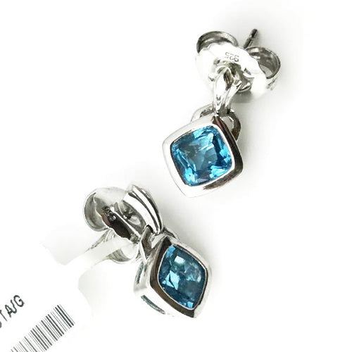 Colore Sg Sterling Silver Blue Topaz Fleur De Lis Post Earrings 4.7g, New item #LVE462-BT