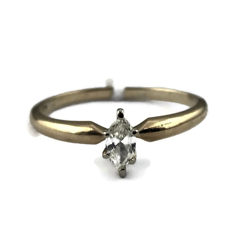 Marquise Cut Diamond Solitaire Engagement Ring in 10K Yellow Gold