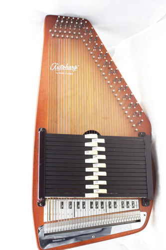 Vintage Zither Wood Appalachian Autoharp by Oscar Schmidt 15 chord w/case, this is Pre-Owned Item #339804