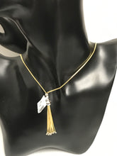 "Ladies 14k Yellow/White Gold 23"" Dangle Tassel Design Snake Chain Necklace 8.5Gr, Pre-Owned item  #v47597"