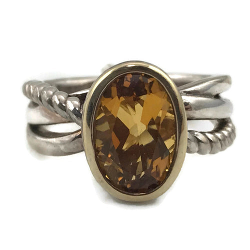 Colore SG Sterling Silver and 18K Gold Citrine Ring, New item #lzr249-ct