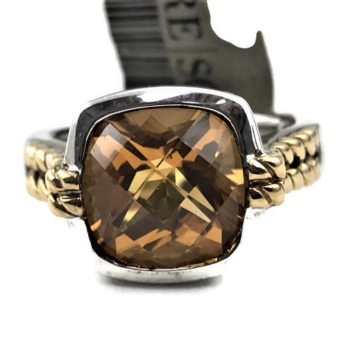 Colore SG Sterling Silver and 18K Yellow Gold Citrine Ring, New item #LZR200
