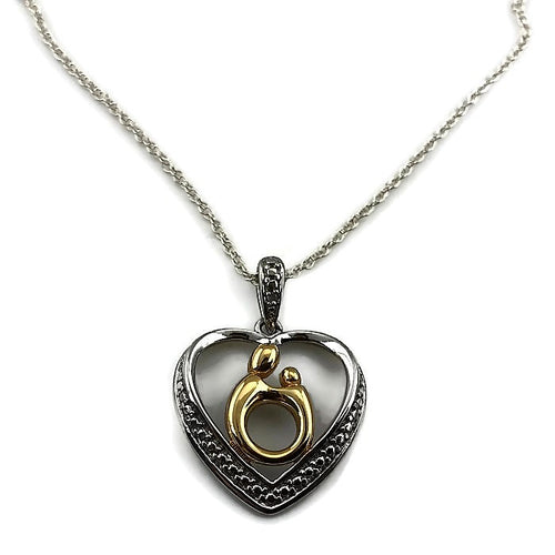 Mother & Child® Heart Pendant Sterling Silver w/ Chain, new item #v46282