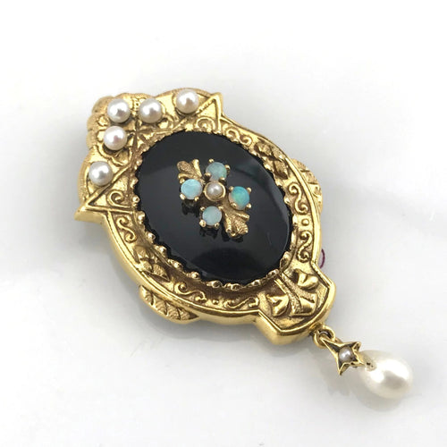 Antique Opal Black Onyx & Seed Pearl 14k Yellow Gold Pin Brooch
