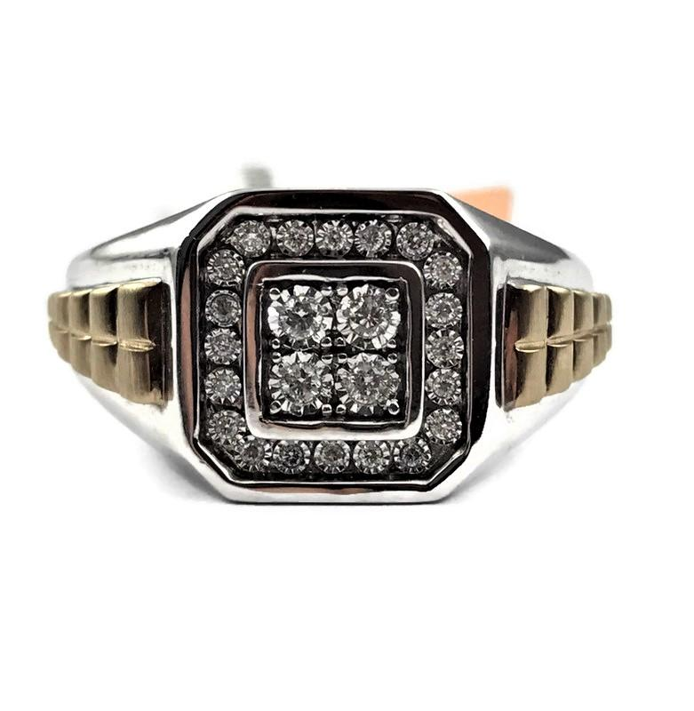 NDI 10K White/Yellow Gold Diamond Men's Ring