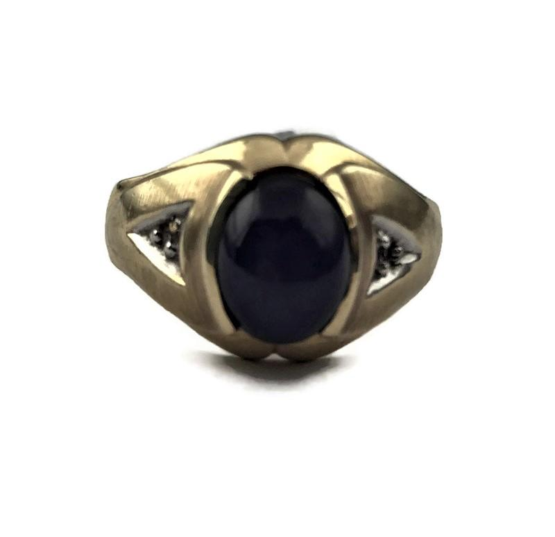 TJ Men's Star Sapphire Ring in 10K Gold with Diamond Accents