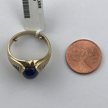 TJ Vintage Men's Cabochon Cut Star Sapphire Ring with Diamond Accents in 10K Yellow Gold, Pre-owned item, #351164B