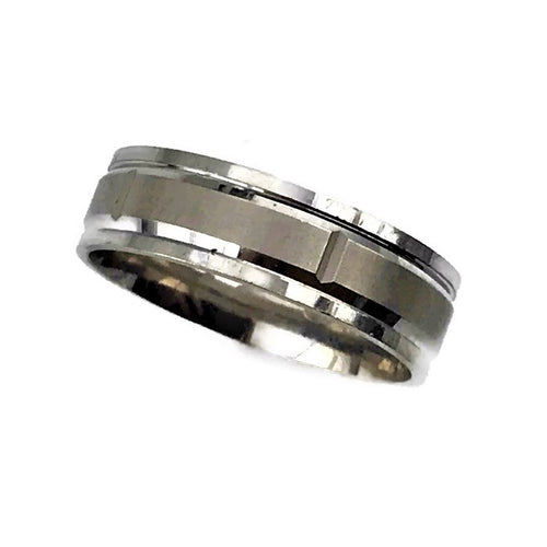 Mens 14K White Gold Wedding Band Size 9 #t10579