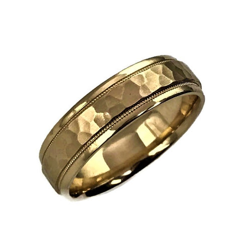 Mens 14K Yellow Gold Comfort-Fit Hammer Finish Band Size 10 #302606a