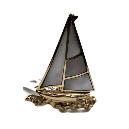 14k Yellow Gold Opal Inlay Sailboat Pendant, Pre-owned item #274573a
