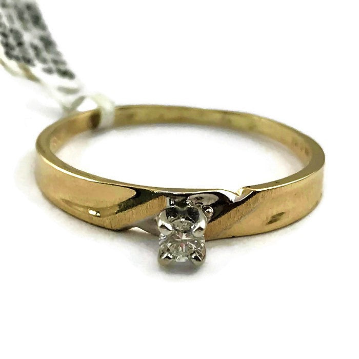 Ladies .15CT Diamond Solitare Ring In 14KY Gold, Pre-Owned item #264901B