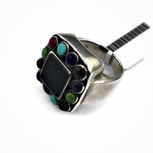 Ladies Sterling Silver Onyx Multi Stone Ring