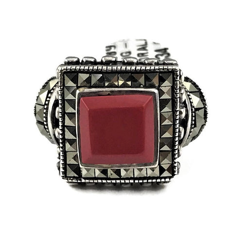 Hematite Coral Sterling Silver Ring