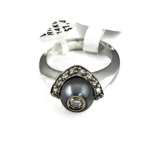 Galatea Tahitian Pearl Ring with  Diamond