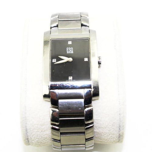 ESQ SWISS Diamond Black Face Watch mod E5297, this is Pre-Owned Item #338656D.sb