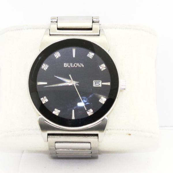 Bulova Diamond Accent Men's Watch Black Dial Stainless Steel 96D121, this is Pre-Owned Item #330696