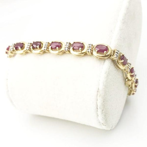 14K Yellow Gold 3.20CT Ruby And 10CT Diamond Bracelet #BP6115R