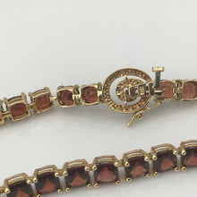 "Ladies 14K Yellow Gold Garnet & Diamond Tennis Bracelet 7"" 7.9DWT #276280E"